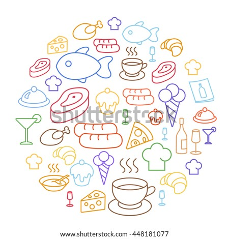Set of flat food icons drawing line - stock photo