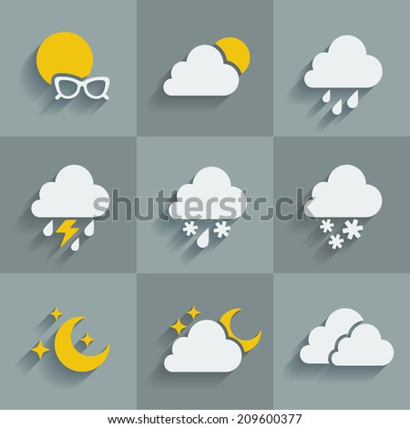 Set of 9 flat icons of weather on a gray background - stock photo