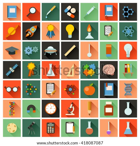 Set of flat science icons - stock photo