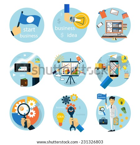 Set of flat style icons for business strategy, development, startup, e-commerce, logistics on white background. Raster version - stock photo