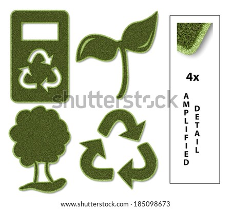 Set of flat sustainable icons with grass texture. - stock photo