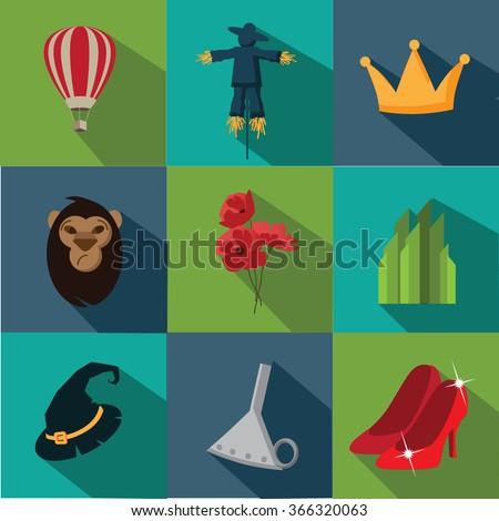 Set of Flat Wizard of Oz icons. - stock photo