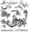 Set of floral elements for design. Raster version of vector file - stock photo