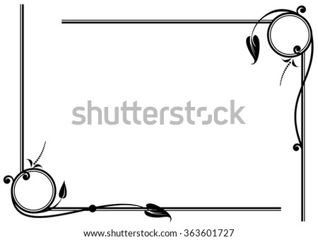 set of  floral vignettes in black and white colors - stock photo