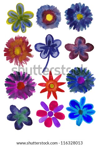 Set of Flowers painted in watercolor isolated on a white background - stock photo