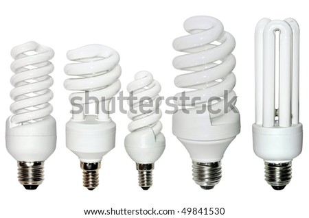 Set of fluorescence lamps of isolated on a white background - stock photo