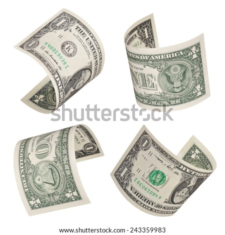 Set of flying one dollars bills. Isolated on white - stock photo