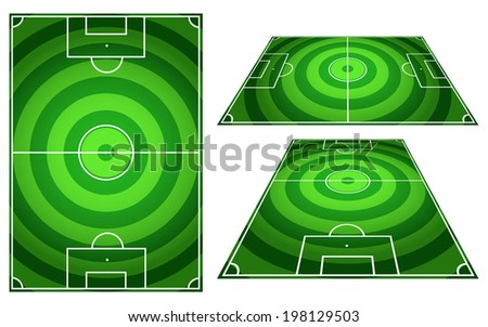 Set of Football or Soccer Fields Circles Striped Background with Vertical and Horizontal Patterns - stock photo
