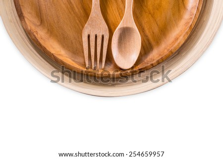 Set of fork,spoon and dish wood isolated over white.ready for your design.The file includes a clipping path so it is easy to work  - stock photo