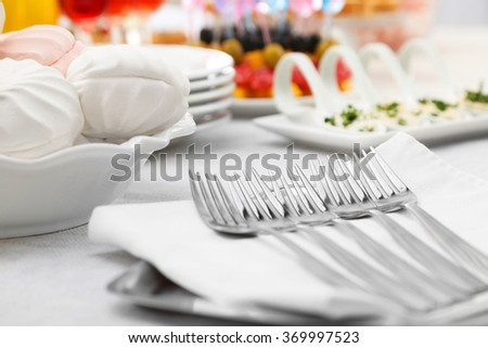 Set of forks and zephyr, closeup - stock photo