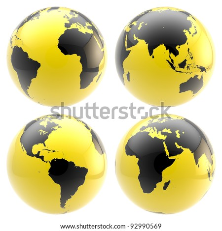 Set of four black and yellow glossy planet globes isolated on white - stock photo