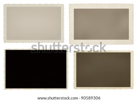 Set of four blank picture frames - stock photo
