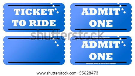 Set of four blue tickets, isolated on white background. - stock photo
