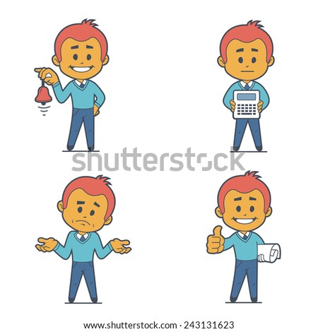 Set of four characters businessman. Flat design. - stock photo