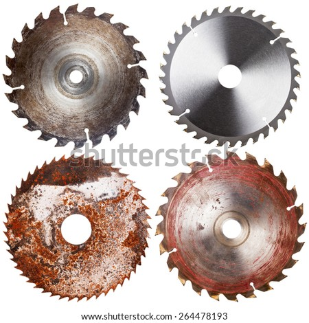 Set of four circular saw blades isolated on white background - stock photo
