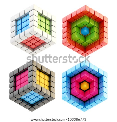 Set of four colorful glossy abstract cube compositions isolated on white - stock photo