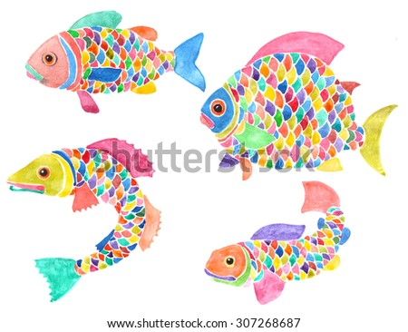 Set of four creative fishes with multicolored scales, fins and tails. Hand-painted watercolor illustration. Isolated on white background.  - stock photo