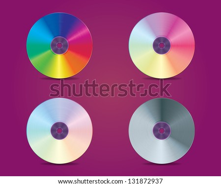 set of four DVD or CD disk - stock photo