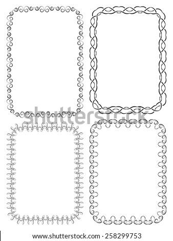set of four elegant frames on a white background - stock photo