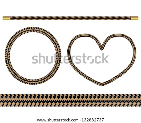 Set of four elements of rope for design - stock photo
