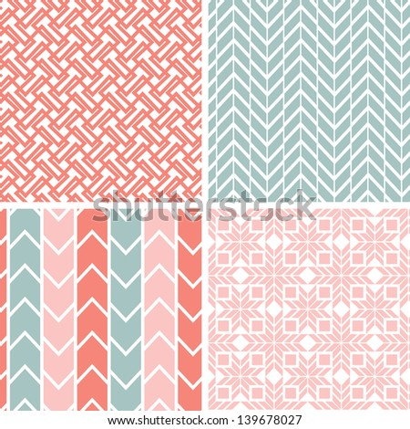 Set of four gray pink geometric patterns and backgrounds - stock photo