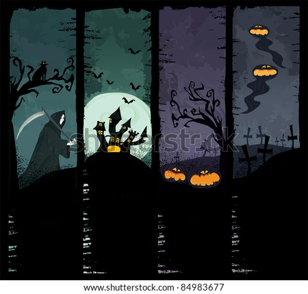 Set of four grunge Halloween banners. Standard size. Grim reaper, haunted castle, spooky pumpkins and scary ghosts on the graveyard. Everything you need for your Halloween party. - stock photo