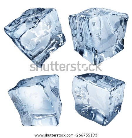 Set of four ice cubes in blue colors - stock photo