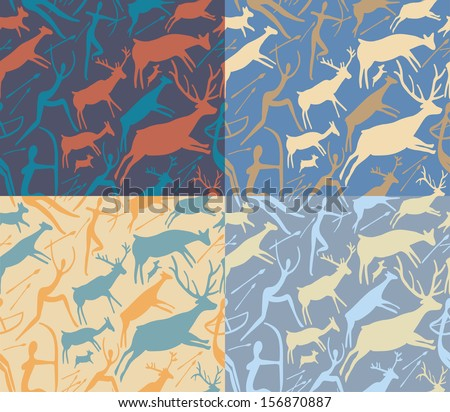 Set of four pattern about hunting with primitive figures - stock photo