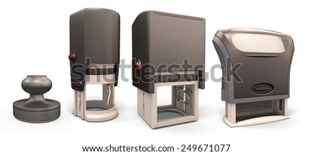 Set of four plastic stamps isolated on white background. 3d render image. - stock photo