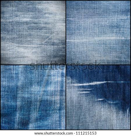 Set of Four Worn Blue Denim Jeans Texture, Background, Backdrop - stock photo