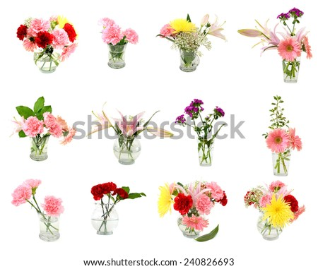 Set of Fowers and glass vases - stock photo