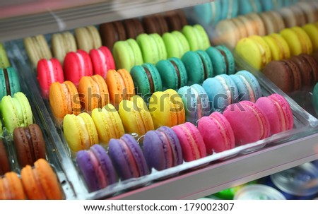 set of french colorful macaroons - stock photo