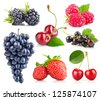 set of fresh berry with green leaf isolated on white background - stock photo