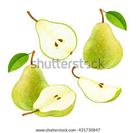 Set of fresh green pears with leaves. Different styles of pears on white background. - stock photo