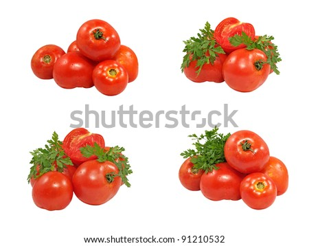 Set of fresh red tomatoes and green parsley isolated on white background. - stock photo