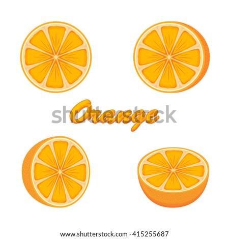 Set of fresh ripe oranges isolated on white background, illustration. - stock photo
