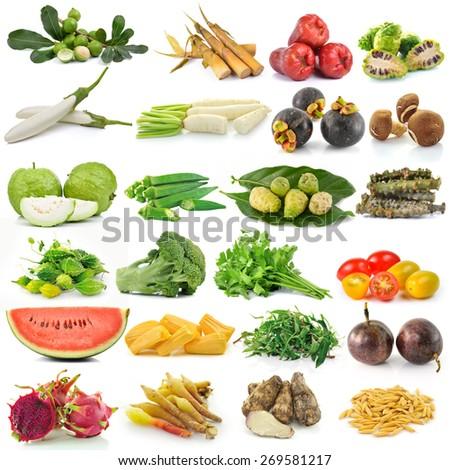 set of fruit and vegetable on white background - stock photo