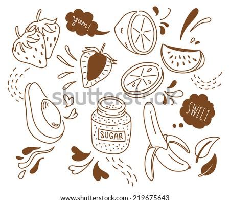set of fruit doodle isolated on white background - stock photo