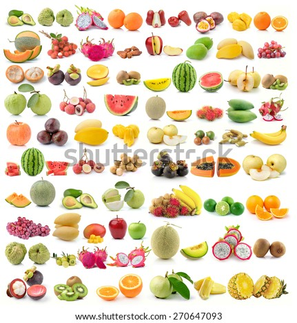 set of fruit on white background - stock photo