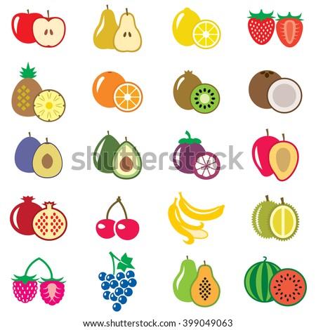 Set of fruits flat vector illustration - stock photo