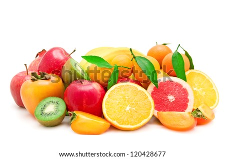 Set of fruits isolated on white background - stock photo