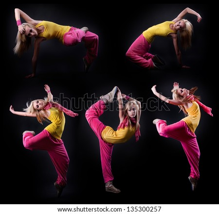 set of Full-length portrait of a girl dancing on a dark studio background - stock photo