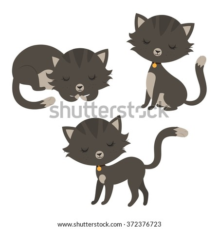 Set of funny cartoon cats. Raster. - stock photo