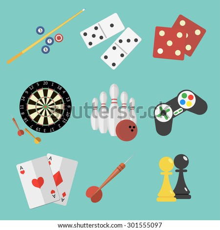 Set of game and sport icons in flat style design. Joystick, pair of aces, billiard, darts, dice, bowling, chess, domino pieces.  - stock photo