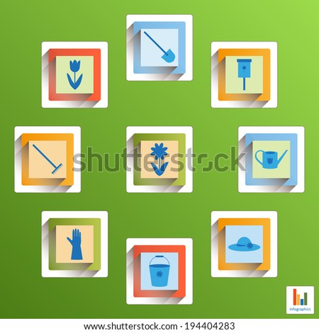 Set of garden icons: flower, tulip, nesting box, watering can, hat, bucket, gloves, rake, shovel. Garden illustration in blue, yellow, orange, red colors on a green background. Design elements. - stock photo