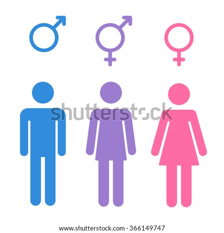 Set of gender symbols with stylized silhouettes: male, female and unisex or transgender. Isolated illustration. - stock photo