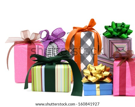 Set of gift boxes on white background - stock photo
