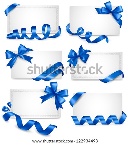 Set of gift card notes with blue bows with ribbons. Raster version of vector. - stock photo