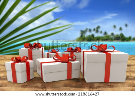 set of gift packs on wooden table in tropical landscape - stock photo