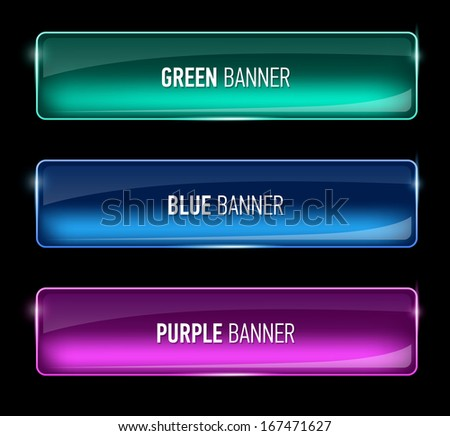 Set of glass green, blue and purple banners - stock photo
